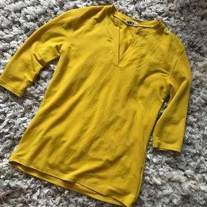 Twinth (Anthro brand) mustard yellow 3/4 sleeve T